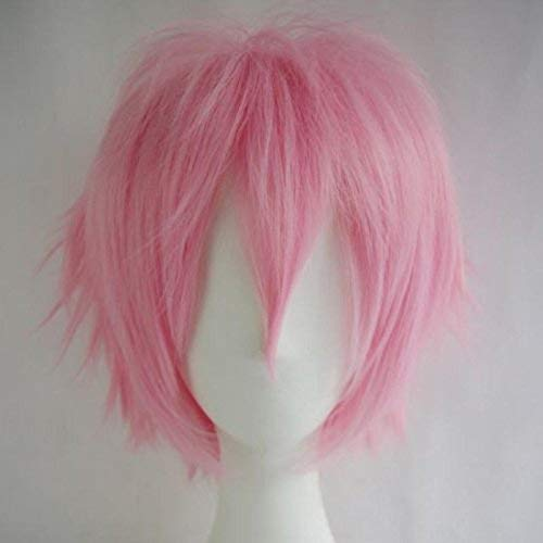 Women Mens Short Fluffy Straight Hair Wigs Anime Cosplay Party Dress Costume Shaggy Full Wig (Pink)]()