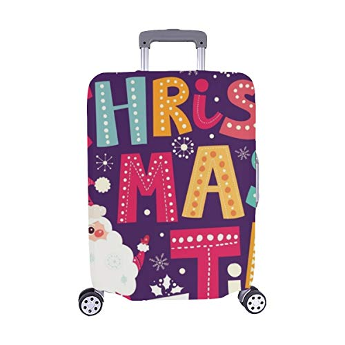 Christmas Postcard Santa Claus Gifts Spandex Trolley Case Travel Luggage Protector Suitcase Cover 28.5 X 20.5 ()