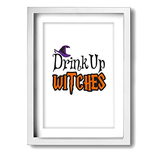 CLLSHOME 12 X 16 Inch Framed Wall Decor- Halloween Witches Wine Glass Canvas Prints Paintings for Living Room Bedroom Bathroom Home Decorations