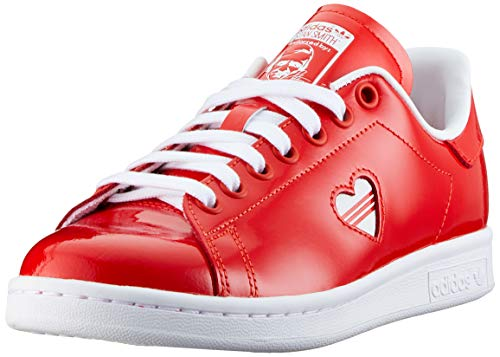 (adidas Womens Stan Smith Patent Leather Active Red White Trainers 7.5 US)