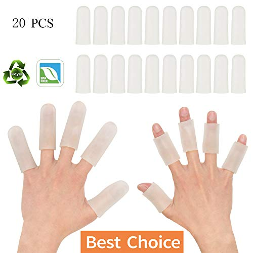 (Sporting Style Gel Finger Covers,Silicone Finger Cots,Finger Protector for Women and Men, Great for Trigger Finger, Hand Eczema, Finger Cracking, Finger Arthritis and More(20-Pack))
