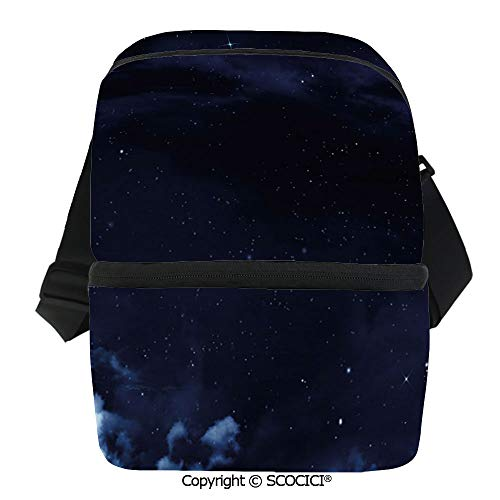 - SCOCICI Insulated Lunch Cooler Bag Nocturnal Space Scenery Romantic Crescent Moon Stars Clouds Image Prink Decorative Reusable Lunch for Men Women Heat Insulation,Heat Protection