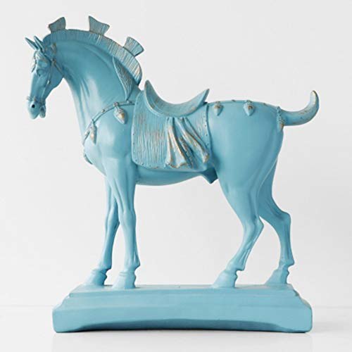 (Statues Figurines Sculptures,Nordic Chinese Light Blue Tang Horse Ornaments,Novelty Modern Abstract Statue, Living Room Bedroom Porch Model Room Hotel Study Home Decoration Ornaments, Crafts Collecti)