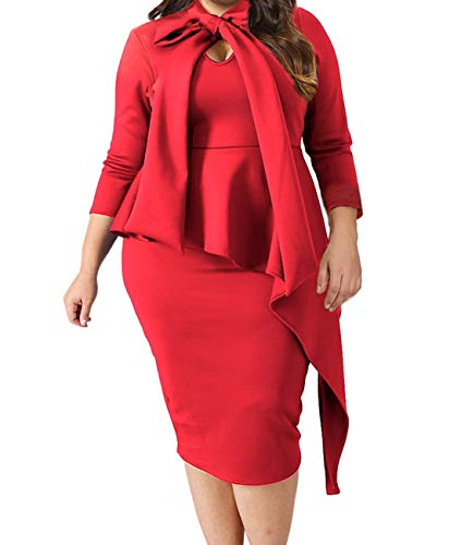 Lalagen Women's Plus Size Long Sleeve Peplum Tie Neck Bodycon Pencil Midi Dress Red XXL