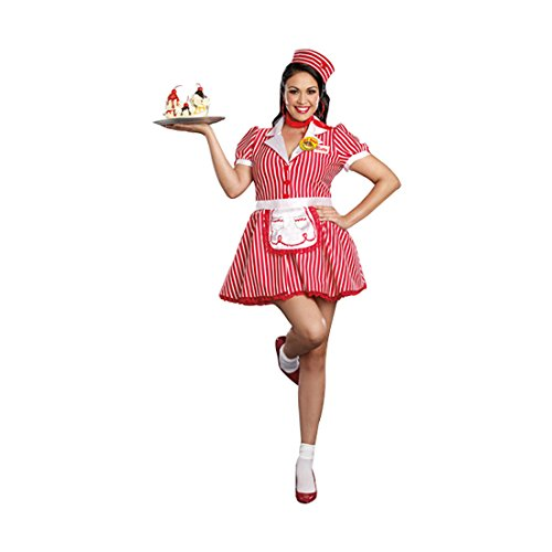 Dreamgirl Women's Plus-Size Diner Doll Waitress Costume, Red/White, 1X/2X]()