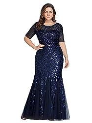 Plus Size Embroidery & Sequins Navy Colour Maxi Dress