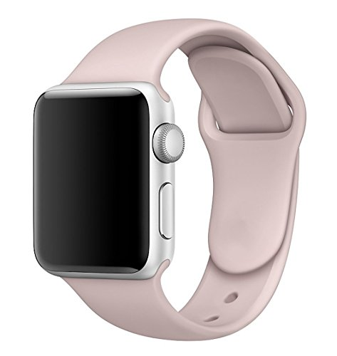 MadeforOnline : Sport Band for Apple Watch 44mm 42mm 40mm 38mm Soft Silicone Waterproof Replacement Band iWatch Bands Wristband for Series 4,3,2,1, Nike+, S/M M/L