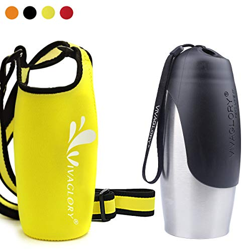 - Vivaglory 25oz Stainless Steel Dog Hiking Water Bottle and Yellow Neoprene Water Bottle Sling with Adjustable Wide Shoulder Strap