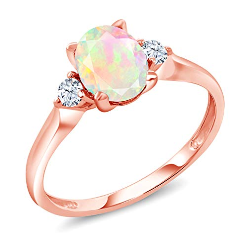 Sapphire Rose Ring (2.80 Ct Oval White Ethiopian Opal White Created Sapphire 10K Rose Gold Ring (Size 8))