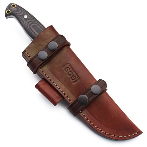 GCS Custom Handmade Black & White Micarta Handle D2 Tool Steel Knives Buffalo Hide Sheath 102