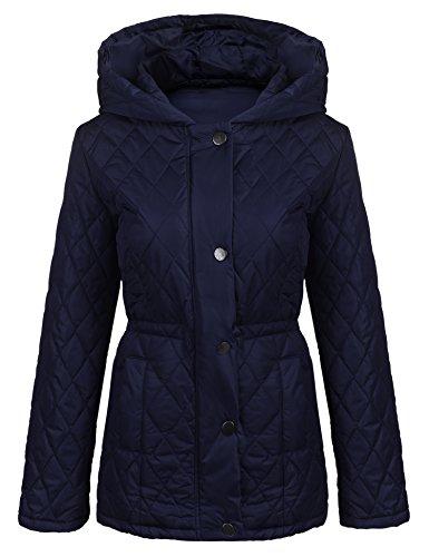 mymotto Femmes  Capuche Zippe Drawstring Waist Solid Dcontracte Veste Matelasse Pocket Manteaux Bleu Marine