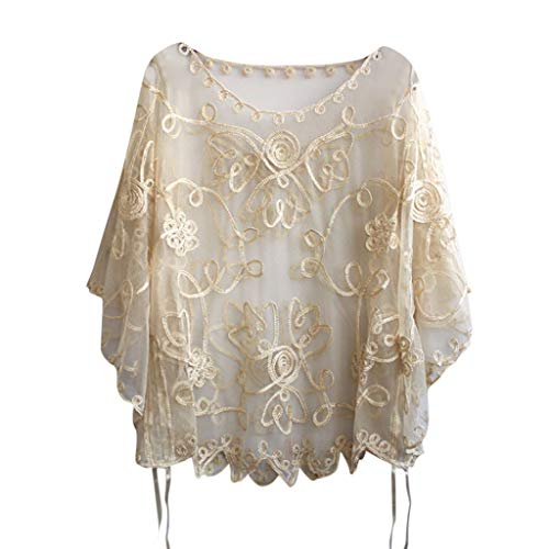 Byyong Women's 1920s Shawl Beaded Sequin Deco Evening Cape Bolero Flapper Cover up