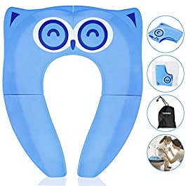 Gimars Foldable Potty Toilet Training Seat for Baby/Children Upgrade Portable Travel Baby Toilet Training Seat with 4 AntiSlip Silicone Pads & Carry Bag (blue)