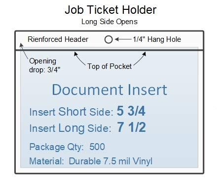 Job Ticket Holder Vinyl Plastic Sleeve, Insert Size: 7 1/2 x 5 3/4, Set of 500, 0.407 Each, Long Side Opening, Durable 7.5 mil Crystal Clear ()