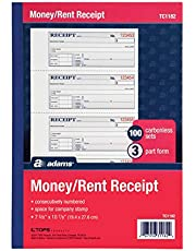 Adams Money and Rent Receipt Book, 7.63 x 11 Inch, Tape Bound, 3-Part, Carbonless, 100 Sets, White and Canary and Pink (TC1182)