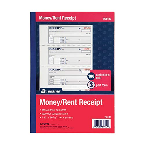 - Adams Money and Rent Receipt Book, 3-Part, Carbonless, White/Canary/Pink, 7-5/8