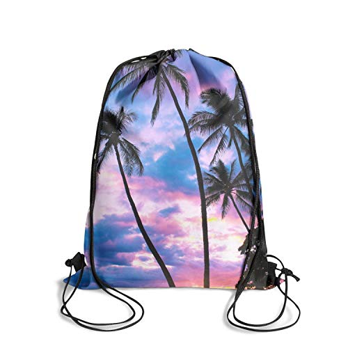 ZWEN Triple Palm Tree Sunset Beach Hawaii Drawstring Backpack Adjustable Sport Swimming Yoga