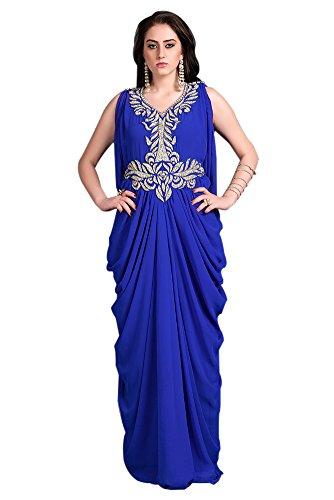 Kolkozy Fashion Women's Sleeveless Kaftan Dress-Georgette Hand Beaded Designer Kaftan Blue Size 1X