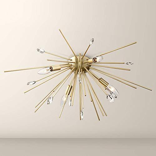 Janae Modern Flush Mount Ceiling Light Fixture Sputnik Style Antique Gold 29