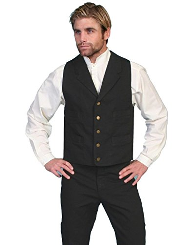 Scully Old West Vest Mens Lined Button Cotton Canvas XLT Black RW041