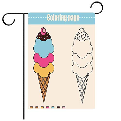 Artistically Designed Yard Flags, Double Sided Coloring Page with ice Cream Educational Children Game Printable Drawing Best for Party Yard and Home Outdoor Decor -