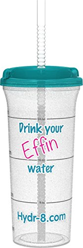 Drink your Effin Water Pink & Teal Hydr-8 32oz Time Marked Water Bottle
