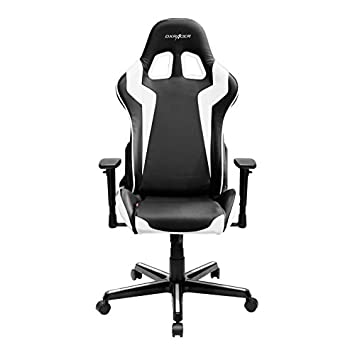 DXRacer FH00 NW Black White Racing Bucket Seat Office Chair Gaming Ergonomic with Lumbar Support