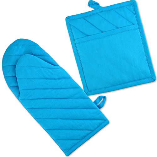 DII 100% Cotton, Machine Washable, Everyday Kitchen Basic, Oven Mitt and Pot Holder Gift Set, Neon Blue