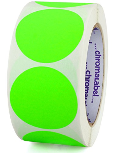 ChromaLabel 2 inch Color-Code Dot Labels | 500/Roll (Fluorescent Green) ()