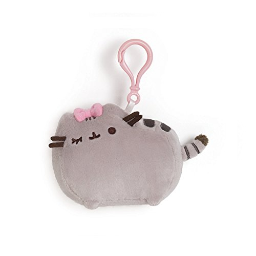 GUND Pusheen with Bow Stuffed Plush Backpack Clip , 4.5