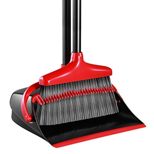 Broom and Dustpan Set, Homemaxs Long Handle Broom with Dustpan, Upright Dustpan with Upgrade Combo for Thorough Sweeping, Good Grip Dustpan and Lobby Broom for Pet Hair