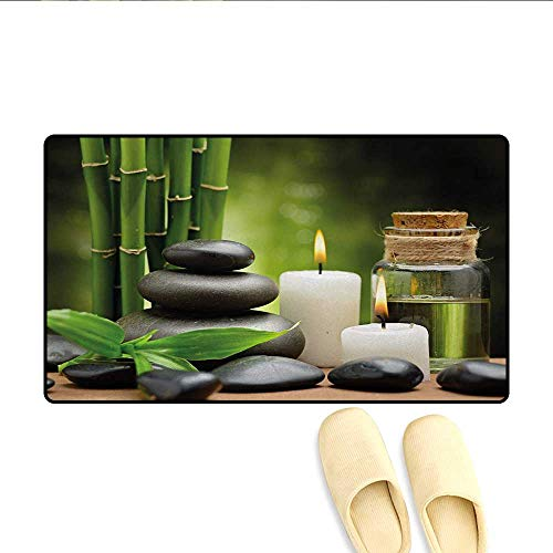 Bath Mat,Hot Massage Rocks Combined with Candles and Scents Landscape of Bamboo Print,Floor Mat Pattern,Green White and Black,Size:20