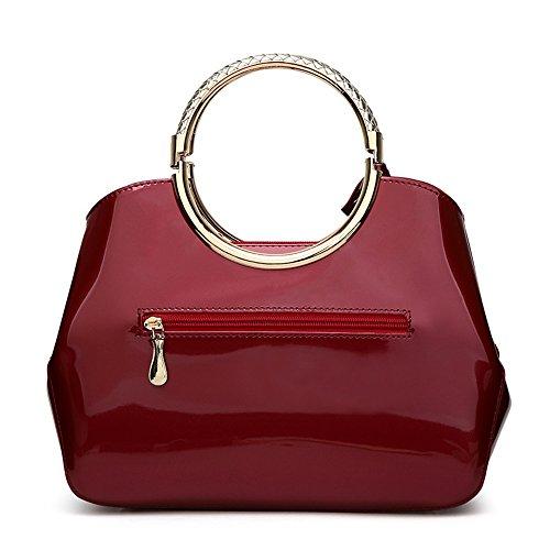 Red Handbag Pattern capacity Sequins Pu Sunbobo Wine Rose Light Gel Large vqO6aO