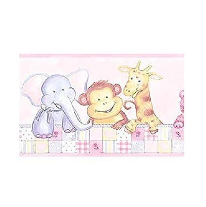 Patton Cm79606 Animal Nursery Wallpaper Border Pale Pink