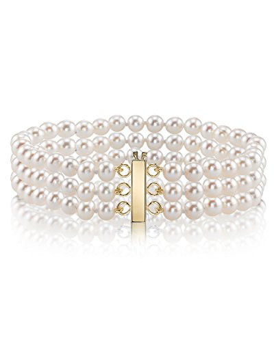 THE PEARL SOURCE 14K Gold 7-7.5mm AAA Quality White Triple Japanese Akoya Saltwater Cultured Pearl Bracelet for Women ()