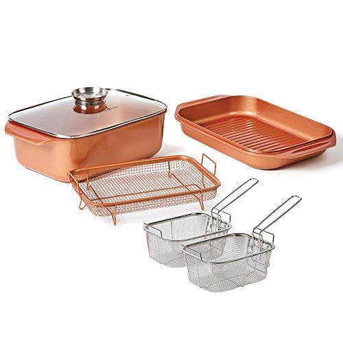 Baskets Accessories Cooking Bbq Outdoor (12 QT 14 In 1 Multi-Use Copper Chef Wonder Cooker with roasting pan and lid, Multi-Use Grill pan, 9 X13 Baking Pan, 12 Qt Capacity)