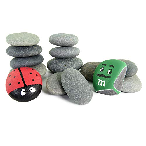 Painting Pebbles | 15 Medium Painting Rocks | Natural, Hand-Picked, Smooth Rock Painting and Drawing Stones | Arts and Crafts for Kids (Blueberry, 2-3)