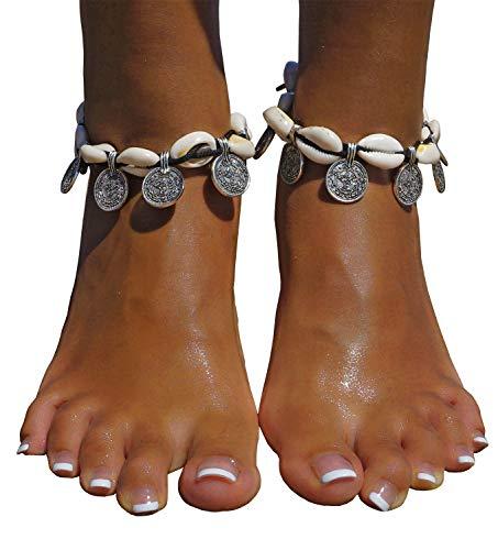 Chain Shell - Bienvenu Hawaiian Natural Shell Bead Bracelet Vintage Boho Chain Anklet Coin Tassels Beach Ankle Bracelet For Women, Coin + Shell