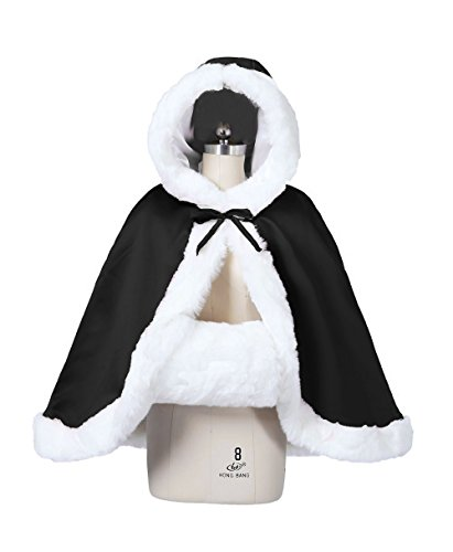 BEAUTELICATE Women's Bridal Cape Wedding Cloak With Fur Hip-length(Black)