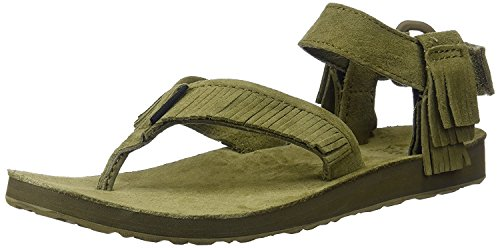 Teva Womens W Original Leather Fringe Sandal, verde oliva scuro, 39 B(M) EU/6 B(M) UK