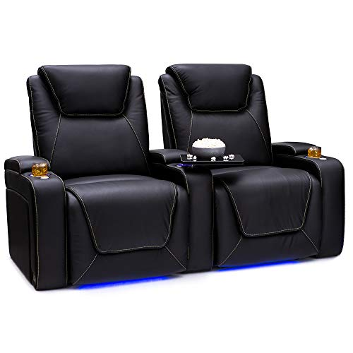 Seatcraft Pantheon Big & Tall 400 lbs Capacity Home Theater Seating Leather Power Recline with Adjustable Powered Headrest and Lumbar Support, SoundShaker, and Lighted Cup Holders, Black, Row of 2