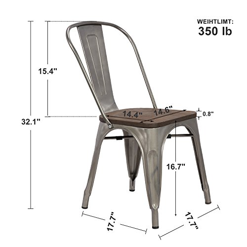 LCH Industrial Metal Wood Top Stackable Dining Chairs, Set of 4 Vintage Indoor/Outdoor Stackable Bistro Cafe Chairs with Back, Glossy Steel by LCH (Image #3)