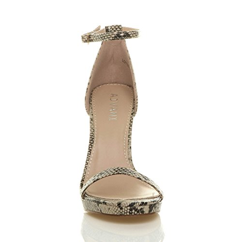 Sandals High Heel Ajvani Size Women Beige Barely Snake There q4gxwpxWn