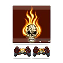 Mightyskins Protective Vinyl Skin Decal Cover for Sony Playstation 3 PS3 Slim skins + 2 Controller skins Sticker Burning Skull