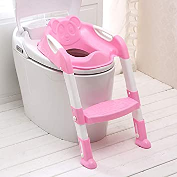 Potty Training Seat for Kids,Adjustable Toddler Toilet Potty Chair with Sturdy Stool Ladder Toddler Potty, Handles and Splash Guard Training Potty, Easy To Assemble Potty TrainingToilet Seat(Pink) Crystaller