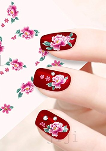 3 Sheets Red Rose Flower Nail Art Stickers Water Transfer Decals (Nail Art Roses)