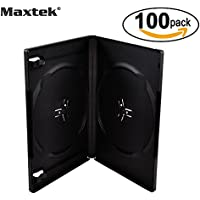 Maxtek 14mm Black Standard Double Capacity DVD Case and Outter Clear Sleeve, 100 pieces pack