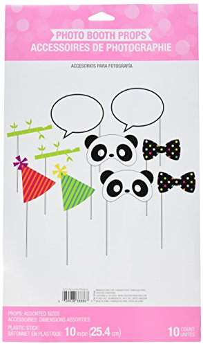10-Piece Photo Booth Prop Kit, (Panda Party Decorations)