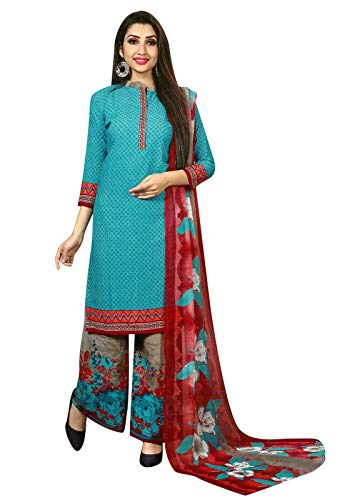Ready to Wear Faux Crepe Printed Salwar Kameez Suit with Palazzo Pants (Size_42/ Light Blue)
