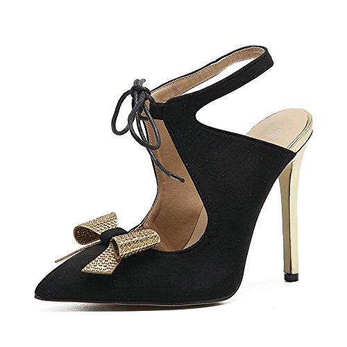Tacones La L Baja Plataforma Altos Boca Zapatos Con Black Delgada Proa Las yc Mujeres Mujer Los De Pies 155xBq